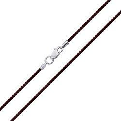 Крученый шелковый шнурок темно-коричневого цвета с серебряным замком, 2,5 мм 000096421