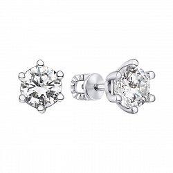 Серебряные серьги-пуссеты с цирконием 000123341