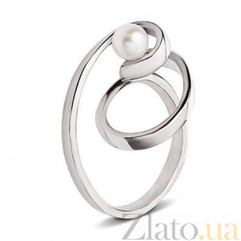 Серебряное кольцо с жемчугом Виток спирали С3-Ж