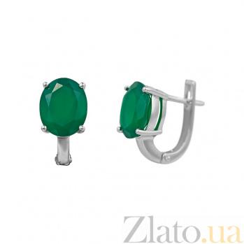 Серебряные серьги Риана с зеленым агатом 000081880