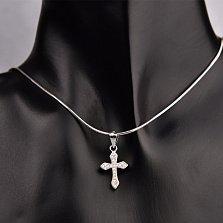 Серебряный крестик Милость божья с фианитами