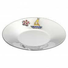 Серебряное блюдце Летнее настроение с цветочком, парусником и разноцветной эмалью