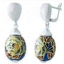 Серебряные серьги-подвески Розанна с цветной эмалью