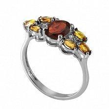 Серебряное кольцо с красным и жёлтым цирконием Ульяна