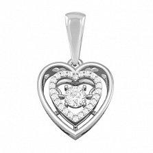 Золотой подвес с бриллиантами Сердце