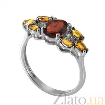Серебряное кольцо с красным и жёлтым цирконием Ульяна Ульяна к/кр-жёл цир