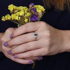 Серебряное кольцо Нюша с лондон топазом и фианитами