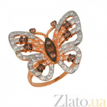 Золотое кольцо Мотылек с фианитами VLT--Е1205-1