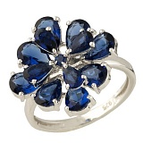 Серебряное кольцо Лаурина с синтезированными сапфирами
