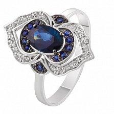 Золотое кольцо с сапфирами и бриллиантами Галактика