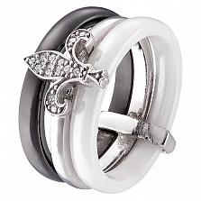 Кольцо из керамики и серебра Исида