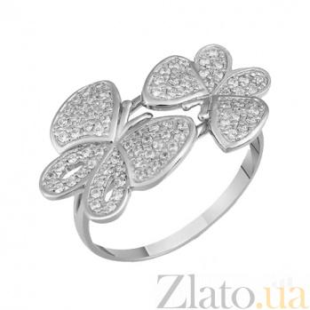 Кольцо в белом золоте Бабочки с фианитами 000022924