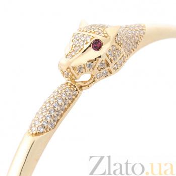 Браслет из желтого золота Пантера с розовыми и белыми фианитами 000082267