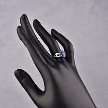 Серебряное кольцо Мамбо с кварцем London blue и фианитами