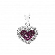 Золотой кулон Сияющее сердечко в белом цвете с рубинами и бриллиантами