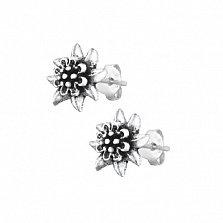Сережки-пуссеты из серебра Хризантемы