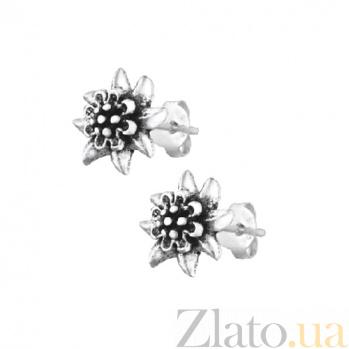 Сережки-пуссеты из серебра Хризантемы SLX--С5/016