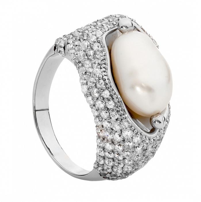 Серебряное кольцо с жемчугом и цирконием Барокко 000029928