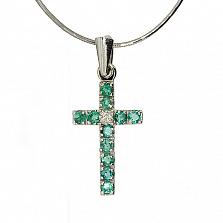 Серебряный крестик с изумрудами и бриллиантами Мадея