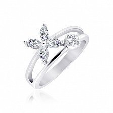 Серебряное кольцо Приход Весны с фианитами