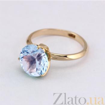 Золотое кольцо с голубым топазом Азиза 000024464
