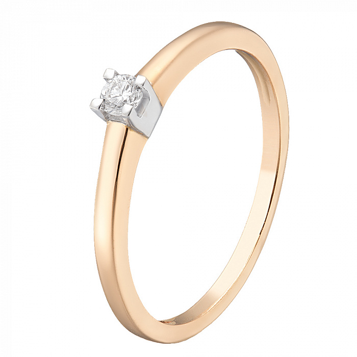 Кольцо из комбинированного золота Амалия с бриллиантом 000078407