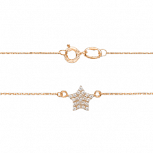 Золотое колье Стелла с кристаллами циркония