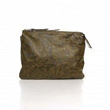 Кожаный клатч Genuine Leather 6564 болотного цвета с плечевым ремнем и двумя отделами