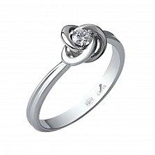 Серебряное кольцо Розочка с топазом в стиле минимализм