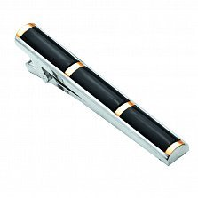 Серебряный зажим для галстука Элвис с черным ониксом и золотыми накладками, 60мм