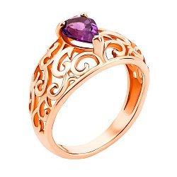 Узорное кольцо из красного золота с аметистом 000131323