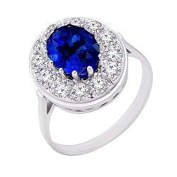 Кольцо в белом золоте Кристина с сапфиром и бриллиантами