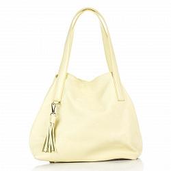 Кожаная сумка на каждый день Genuine Leather 8663 желтого цвета на магнитной кнопке и карабине