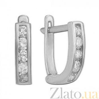 Золотые серьги в белом цвете с цирконием Принцесса TRF--222228