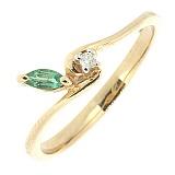 Золотое кольцо Spring Time с изумрудом