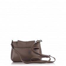 Кожаный клатч Genuine Leather 1382 цвета мокко с декором на клапане и плечевым ремнем
