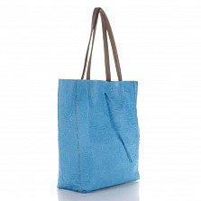 Кожаная сумка на каждый день Genuine Leather 7803 голубого цвета с коричневыми ручками