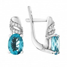 Серебряные серьги Мирабелла с голубым кварцем и фианитами