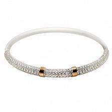 Серебряный браслет с золотой вставкой и цирконием Карен