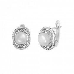 Серебряные серьги Ундина с жемчугом и фианитами