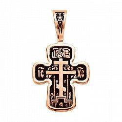 Золотой крестик Сила Господа с чернением 000113485