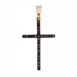 Золотой крестик двухсторонний с черными и белыми фианитами