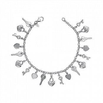Серебряный браслет с подвесками-ключиками, замочками и сердечками 000137491