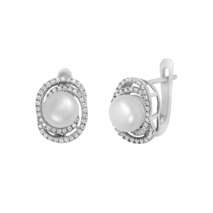 Серебряные серьги Ундина с жемчугом и фианитами 000082045