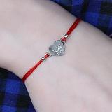 Шелковый браслет Сердце-корона Irina с серебряной вставкой