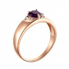 Золотое кольцо Радость сердца в комбинированном цвете с аметистом и фианитами