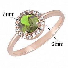 Золотое кольцо Ксения с синтезированным зеленым кварцем и фианитами