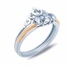 Серебряное кольцо Вета с золотой вставкой и фианитами