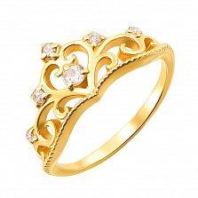 Кольцо-корона из желтого золота с фианитами 000129067