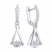 Серебряные серьги-подвески Двойные треугольники с белыми фианитами